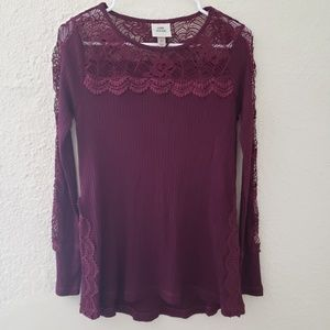 Long Sleeve Crochet Waffle Blouse Knox Rose